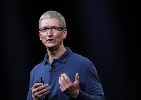 Apple CEO Tim Cook speaks to the audience during an Apple event in San Jose